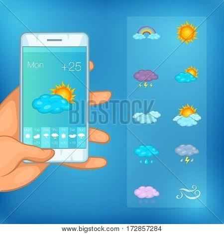 Weather symbols concept cellphone. Cartoon illustration of weather symbols vector concept for web