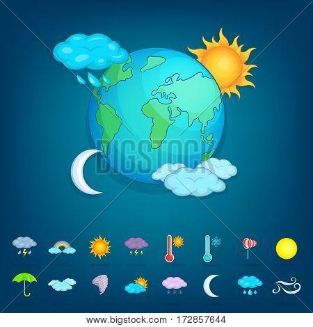 Weather symbols concept planet. Cartoon illustration of weather symbols vector concept for web