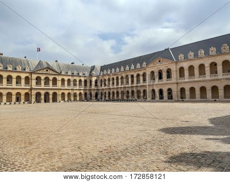 Ceremonial Court also known as Cour d'honneur of the National Residence of the Invalids, Paris, France