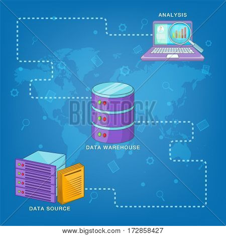 Data base concept route. Cartoon illustration of data base vector concept for web