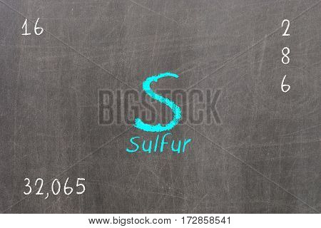 Isolated Blackboard With Periodic Table, Sulfur