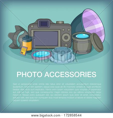 Photo accessories concept. Cartoon illustration of photo accessories vector concept for web