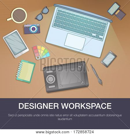 Designer workspace concept. Cartoon illustration of designer workspace vector concept for web