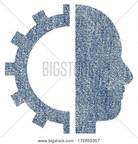 Cyborg Gear vector textured icon for overlay watermark stamps. Blue jeans fabric vectorized texture. Symbol with dirty design. Blue ink rubber seal stamp with fiber textile structure.
