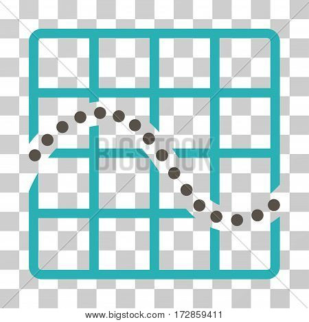 Function Chart vector pictogram. Illustration style is flat iconic bicolor grey and cyan symbol on a transparent background.