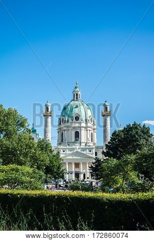 A view to Karlskirche and a park at Vienna Austria.