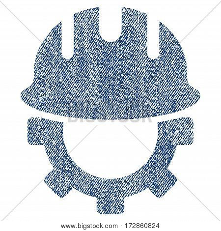 Development Hardhat vector textured icon for overlay watermark stamps. Blue jeans fabric vectorized texture. Symbol with unclean design. Blue ink rubber seal stamp with fiber textile structure.