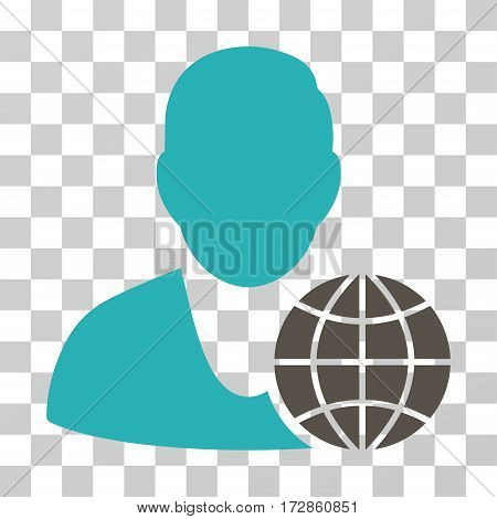 Global Manager vector pictogram. Illustration style is flat iconic bicolor grey and cyan symbol on a transparent background.
