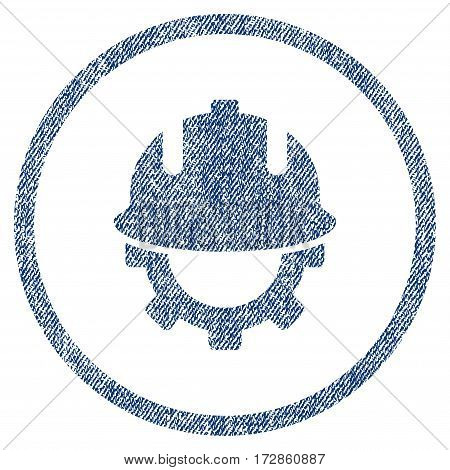 Development Helmet vector textured icon for overlay watermark stamps. Blue jeans fabric vectorized texture. Symbol with dirty design. Blue ink rubber seal stamp with fiber textile structure.