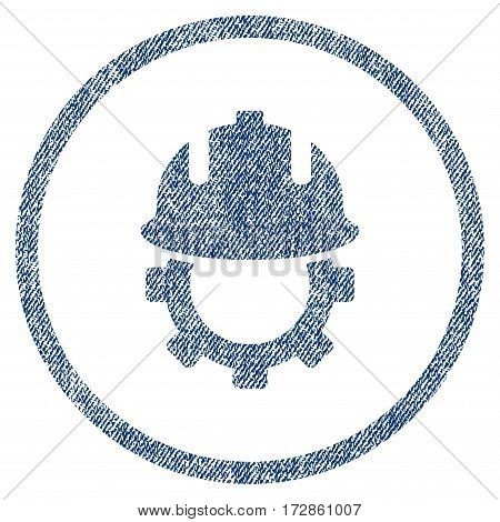 Development Helmet vector textured icon for overlay watermark stamps. Blue jeans fabric vectorized texture. Symbol with scratched design. Blue ink rubber seal stamp with fiber textile structure.