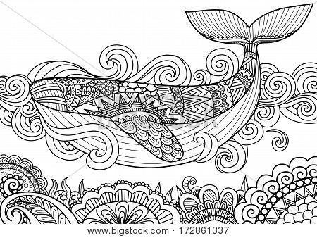 Giant beautiful whale swimming in the ocean over beautiful coral design for coloring book pageT-Shirt design pillow cover design and other design element