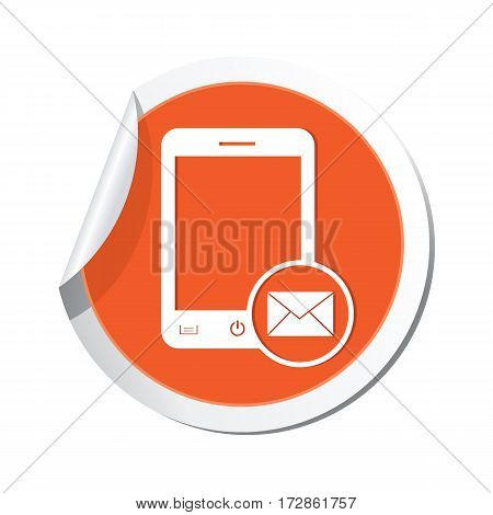 Phone with mail menu icon on the sticker. Vector illustration