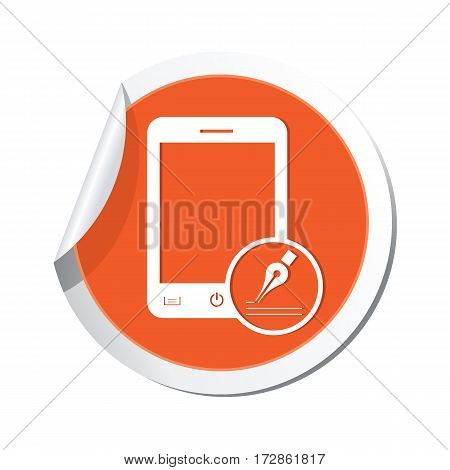 Phone with note menu icon on the sticker. Vector illustration