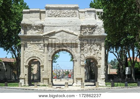 Roman Triumphal Arch Of Orange, France