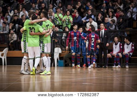 VALENCIA, SPAIN - FEBRUARY 19: players celebrate a goal during Spanish league match between Levante UD FS and Movistar Inter at Cabanyal Stadium on February 19, 2017 in Valencia, Spain