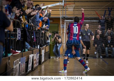 VALENCIA, SPAIN - FEBRUARY 19: Kiko Berrocal celebrates a goal during Spanish league match between Levante UD FS and Movistar Inter at Cabanyal Stadium on February 19, 2017 in Valencia, Spain