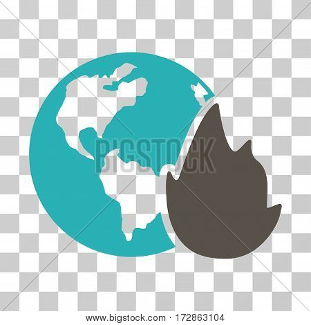 Planet Flame vector pictograph. Illustration style is flat iconic bicolor grey and cyan symbol on a transparent background.