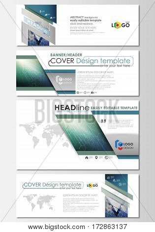 Social media and email headers set, modern banners. Business templates. Easy editable abstract design template, flat layout in popular sizes, vector illustration. Chemistry pattern, hexagonal molecule structure. Medicine, science, technology concept.