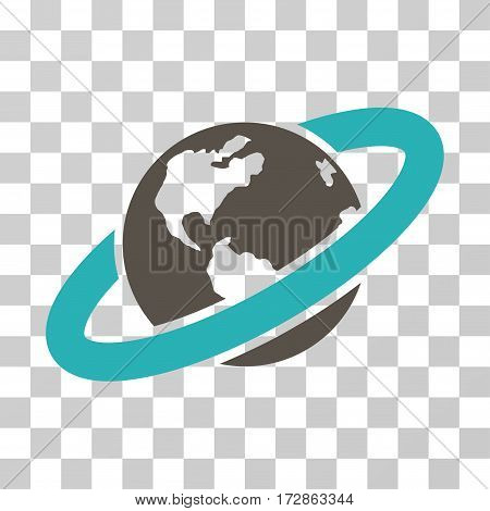 Ringed Planet vector icon. Illustration style is flat iconic bicolor grey and cyan symbol on a transparent background.
