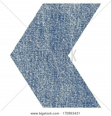 Direction Left vector textured icon for overlay watermark stamps. Blue jeans fabric vectorized texture. Symbol with dust design. Blue ink rubber seal stamp with fiber textile structure.