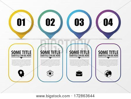 Timeline Infographic with pointers. Modern design template. Vector illustration
