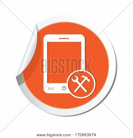 Phone icon with tools menu on the sticker. Vector illustration