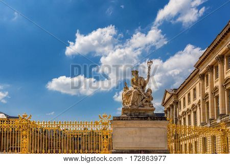 Statue of Hermes as detail of exterior of Palace of Versailles, France