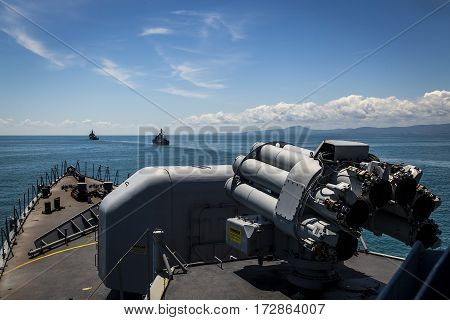 ship navy sea blue water cannon militay