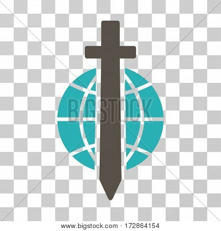 Sword Globe vector pictograph. Illustration style is flat iconic bicolor grey and cyan symbol on a transparent background.