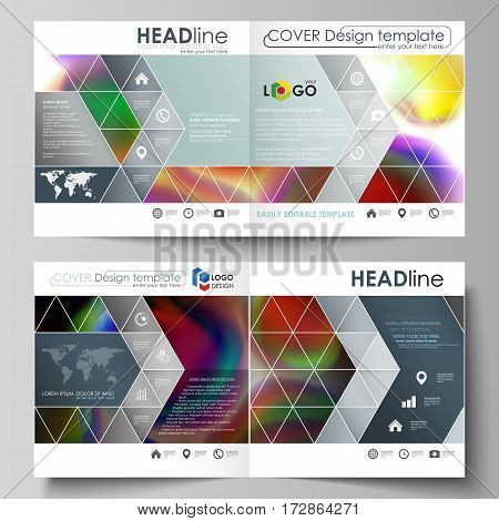 Business templates for square design bi fold brochure, magazine, flyer, booklet or annual report. Leaflet cover, abstract flat layout, easy editable vector. Colorful design background with abstract shapes, bright cell backdrop.