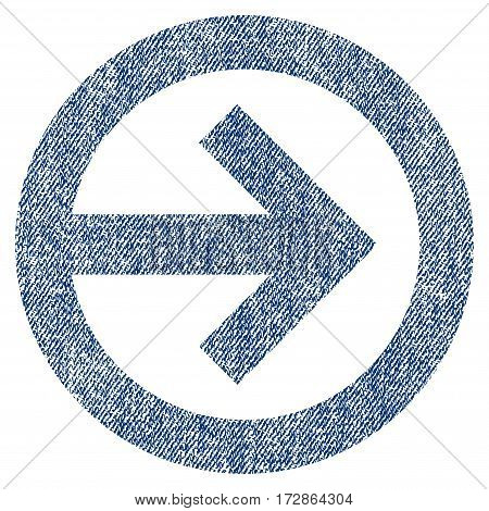 Direction Right vector textured icon for overlay watermark stamps. Blue jeans fabric vectorized texture. Symbol with dirty design. Blue ink rubber seal stamp with fiber textile structure.