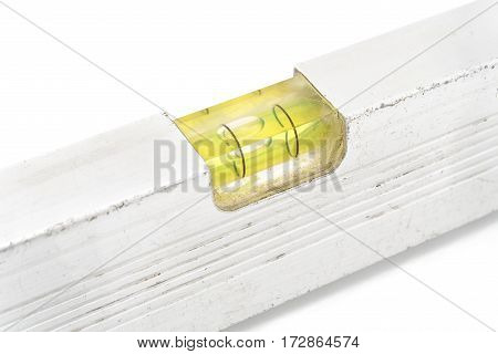 Macro of old construction spirit level isolated on white