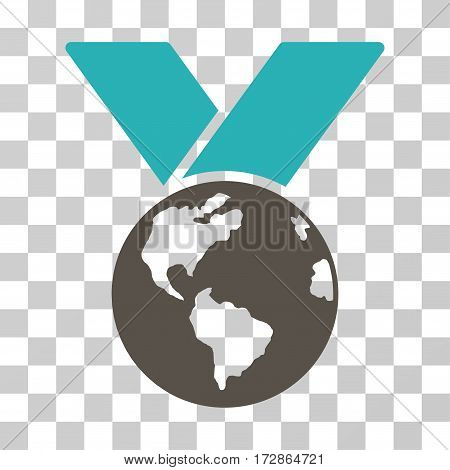 World Medal vector icon. Illustration style is flat iconic bicolor grey and cyan symbol on a transparent background.