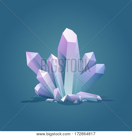 Quartz geometric crystal. Luxury color ice Crystal vector illustration. Healing stone. Gem stone vector illustration