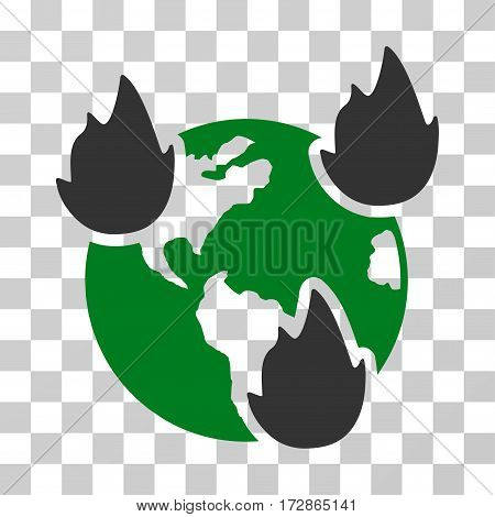 Earth Disasters vector icon. Illustration style is flat iconic bicolor green and gray symbol on a transparent background.