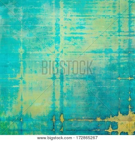 Retro style background with grungy vintage texture and different color patterns: yellow (beige); brown; green; blue; cyan