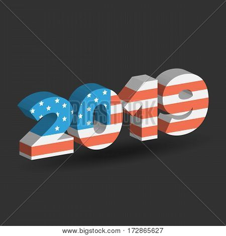 New Year sign with USA flag texture with shadow on white