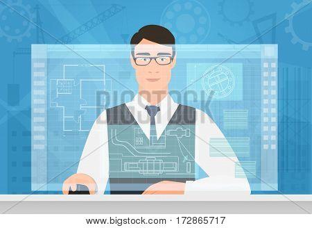 Engineer man working using virtual media interface. Engineer working with building plan virtual screen drawing