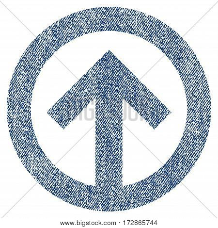 Direction Up vector textured icon for overlay watermark stamps. Blue jeans fabric vectorized texture. Symbol with dirty design. Blue ink rubber seal stamp with fiber textile structure.
