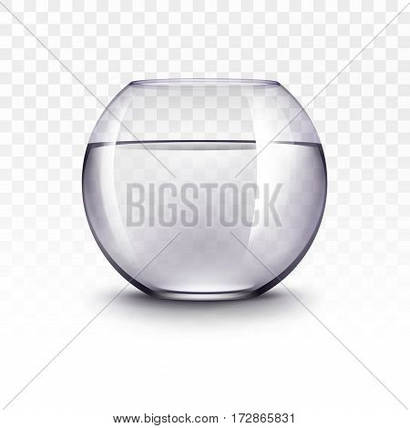 Vector Realistic Violet Transparent Shiny Glass Fishbowl Aquarium with Water without Fish Isolated on White Background