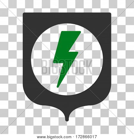 Electric Protection vector pictogram. Illustration style is flat iconic bicolor green and gray symbol on a transparent background.