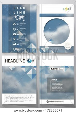 Business templates for brochure, magazine, flyer, booklet or annual report. Cover design template, easy editable vector, abstract flat layout in A4 size. Blue color pattern with rhombuses, abstract design geometrical vector background. Simple modern styli