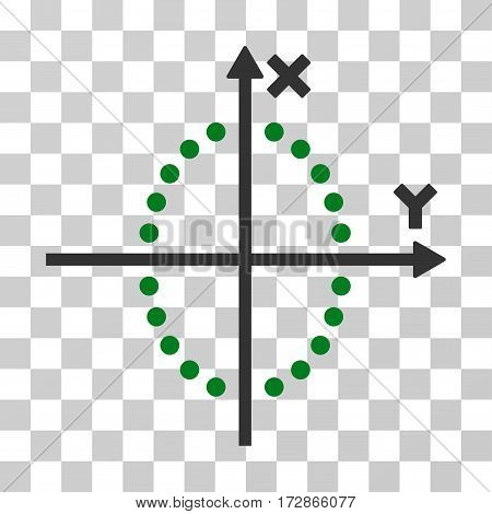 Ellipse Plot vector pictogram. Illustration style is flat iconic bicolor green and gray symbol on a transparent background.