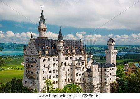 Famous Fairy Tale Castle In Bavaria, Neuschwanstein, Germany