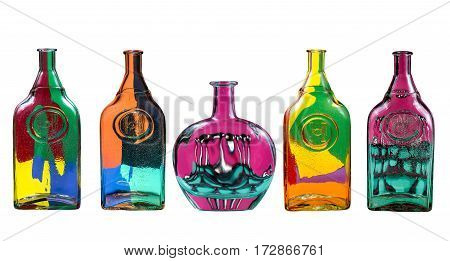 Five glass bottles with an abstract pattern on a white background