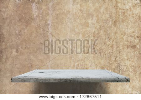 empty shelve on concrete wall