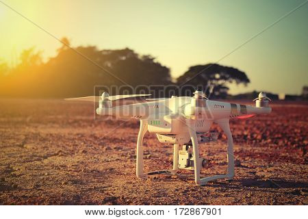 Drone Flying In The Sunset Light Beautiful