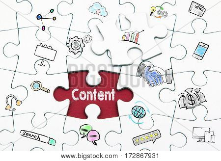 Content concept. White last piece of a Puzzle.