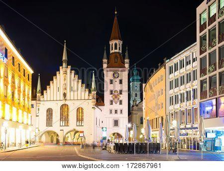 Marienplatz At Night In Munich, Germany. Old Town Hall.