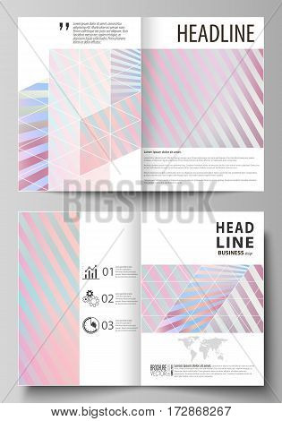 Business templates for bi fold brochure, magazine, flyer, booklet or annual report. Cover design template, easy editable vector, abstract flat layout in A4 size. Sweet pink and blue decoration, pretty romantic design, cute candy background.